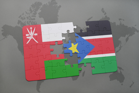 puzzle with the national flag of oman and south sudan on a world map background. 3D illustration