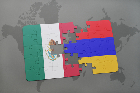 yerevan: puzzle with the national flag of mexico and armenia on a world map background. 3D illustration