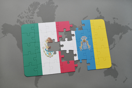 canary: puzzle with the national flag of mexico and canary islands on a world map background. 3D illustration