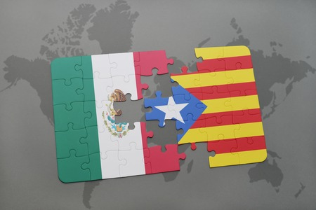 catalonia: puzzle with the national flag of mexico and catalonia on a world map background. 3D illustration