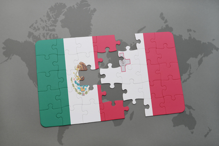 map malta: puzzle with the national flag of mexico and malta on a world map background. 3D illustration