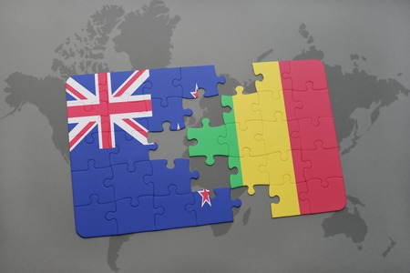 bamako: puzzle with the national flag of new zealand and mali on a world map background. 3D illustration