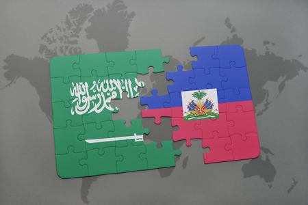 puzzle with the national flag of saudi arabia and haiti on a world map background. 3D illustration
