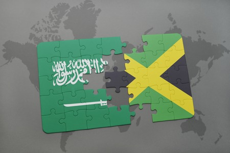 kingston: puzzle with the national flag of saudi arabia and jamaica on a world map background. 3D illustration