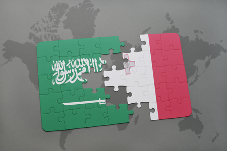 maltese map: puzzle with the national flag of saudi arabia and malta on a world map background. 3D illustration