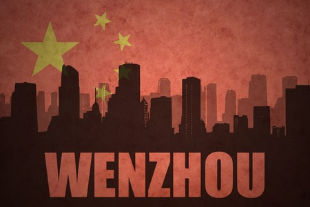 clash: abstract silhouette of the city with text Wenzhou at the vintage chinese flag background