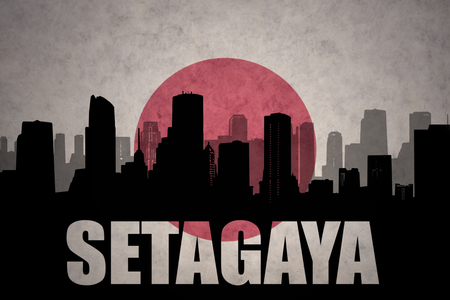 clash: abstract silhouette of the city with text Setagaya at the vintage japanese flag background