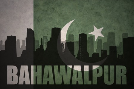 middle east conflict: abstract silhouette of the city with text Bahawalpur at the vintage pakistan flag background