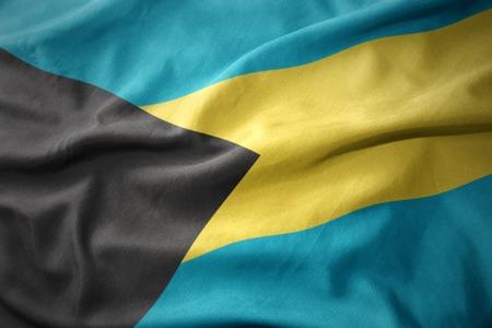 waving colorful national flag of bahamas.