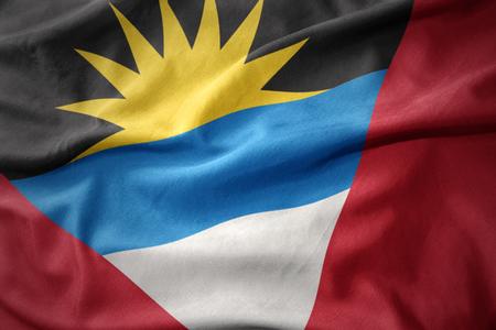 waving colorful flag of antigua and barbuda.