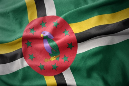 waving colorful national flag of dominica. Stock Photo