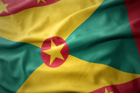 waving colorful national flag of grenada.
