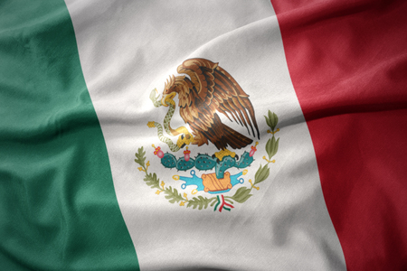 waving colorful national flag of mexico. Stock Photo
