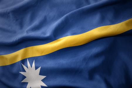 waving colorful national flag of Nauru.
