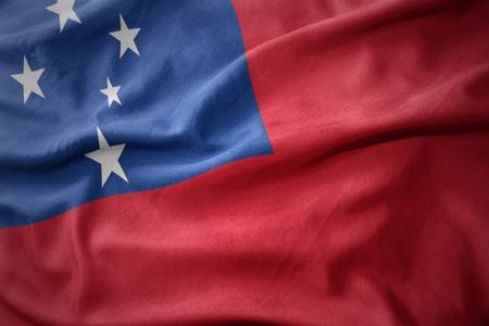 waving colorful national flag of Samoa.