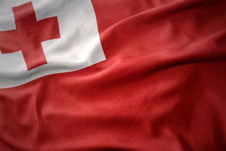 tonga: waving colorful national flag of Tonga.