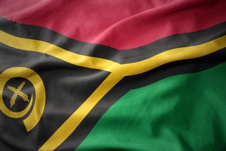 waving colorful national flag of Vanuatu.