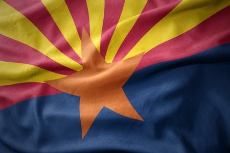 waving colorful national flag of arizona state.