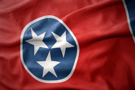 waving colorful national flag of tennessee state.