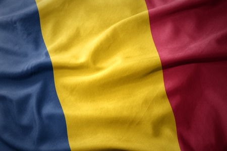 micro print: waving colorful national flag of chad. Stock Photo