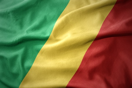 waving colorful national flag of republic of the congo.