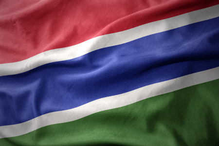 gambia: waving colorful national flag of gambia.