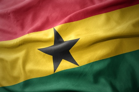 waving colorful national flag of ghana.