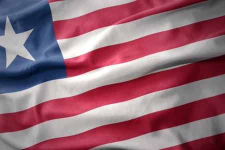 liberia: waving colorful national flag of liberia.