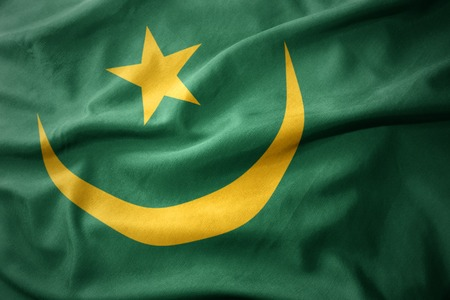 mauritania: waving colorful national flag of mauritania.