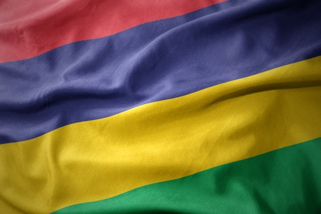 waving colorful national flag of mauritius.