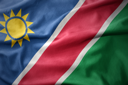 waving colorful national flag of namibia.