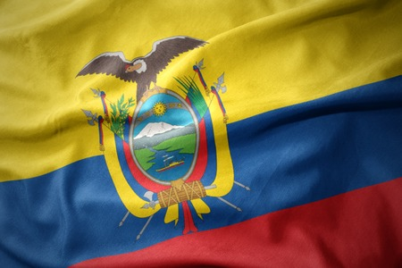 Waving Colorful National Flag Of Ecuador Stock Photo Picture And