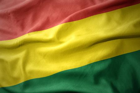 waving colorful national flag of bolivia.