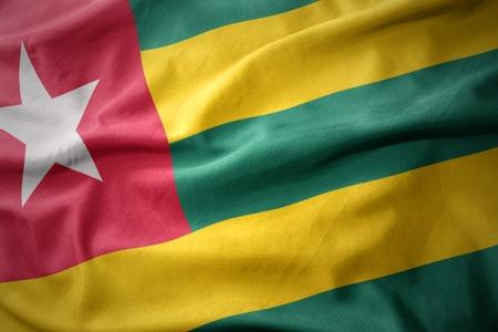 waving colorful national flag of togo.