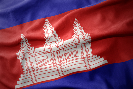 micro print: waving colorful national flag of cambodia.