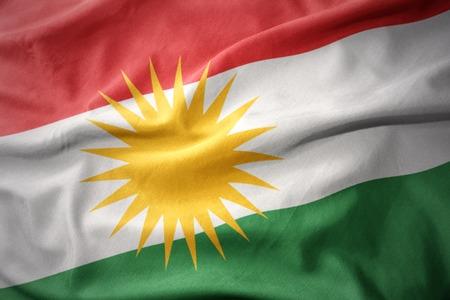 waving colorful national flag of kurdistan.