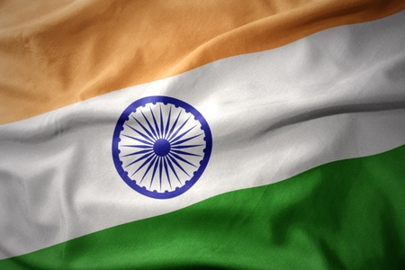 waving colorful national flag of india.