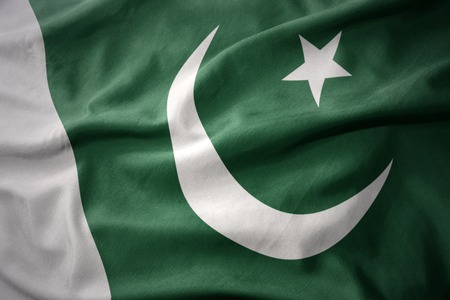 islamabad: waving colorful national flag of pakistan. Stock Photo
