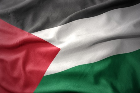 waving colorful national flag of palestine. Stock Photo