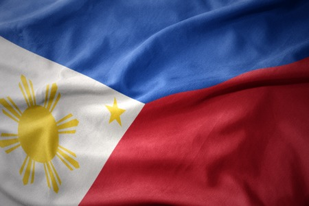micro print: waving colorful national flag of philippines.