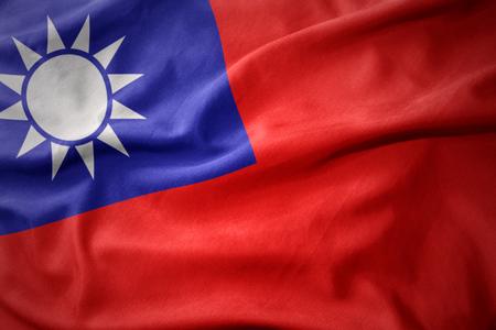waving colorful national flag of taiwan. Stock Photo