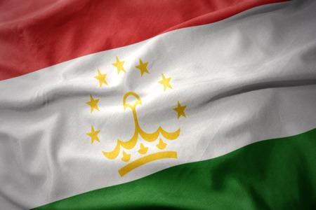 waving colorful national flag of tajikistan.
