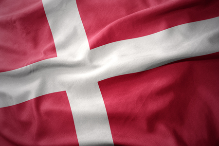 micro print: waving colorful national flag of denmark. Stock Photo