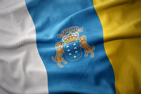 canary: waving colorful national flag of canary islands.