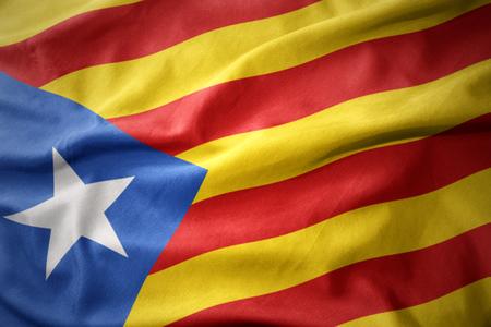 catalonia: waving colorful national flag of catalonia. Stock Photo