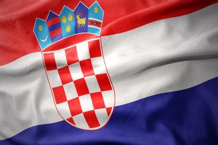 waving colorful national flag of croatia. Stock Photo
