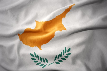 waving colorful national flag of cyprus.