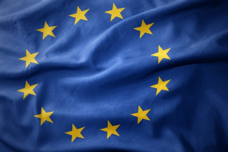micro print: waving colorful national flag of european union. Stock Photo