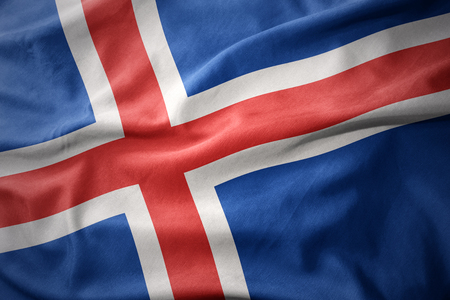 micro print: waving colorful national flag of iceland.