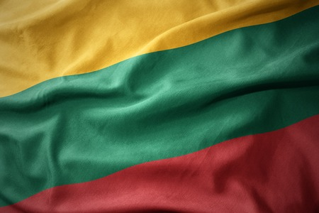 waving colorful national flag of lithuania.
